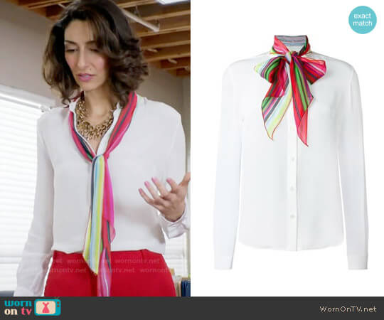 Mary Katrantzou Folia Blouse worn by Necar Zadegan on GG2D