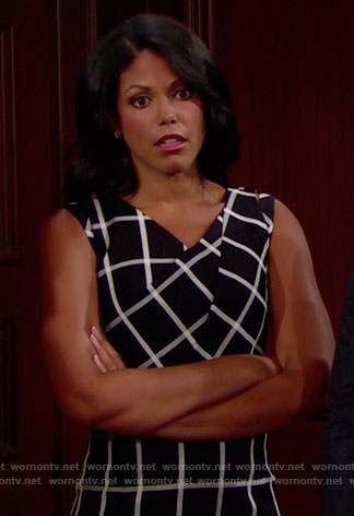 Maya's black and white checked dress on The Bold and the Beautiful