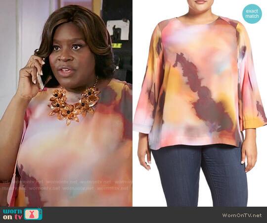 Melissa McCarthy Seven7 Pleat Sleeve Blouse worn by Barbara (Retta) on GG2D
