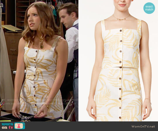 MinkPink Paradise Button Front Top and Skirt worn by Courtney Grosbeck on The Bold & the Beautiful