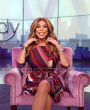 Wendy's multicolored striped dress on The Wendy Williams Show