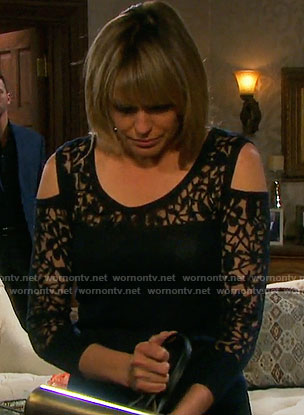 Nicole's sheer black floral cold-shoulder top on Days of our Lives