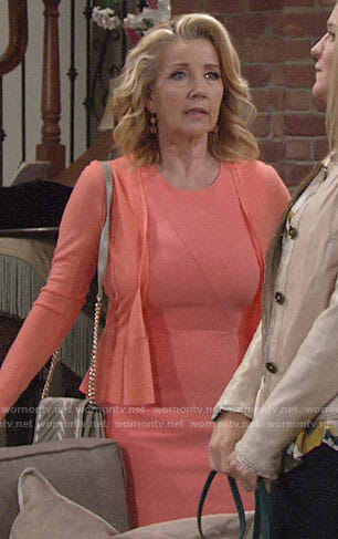 Nikki's coral dress and peplum cardigan on The Young and the Restless