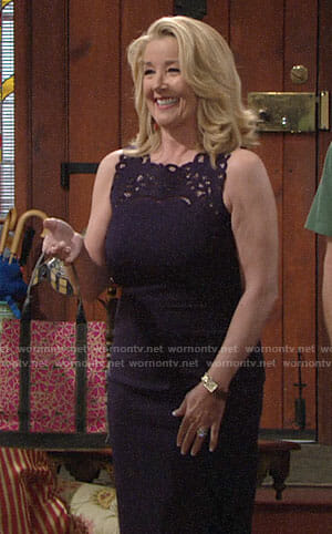 Nikki's navy embroidered eyelet dress on The Young and the Restless