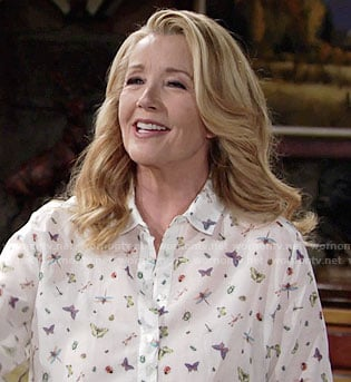 Nikki's white butterfly and insect print shirt on The Young and the Restless