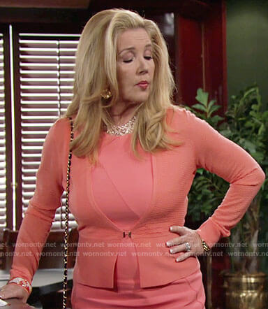 Nikki's coral dress and cardigan on The Young and the Restless