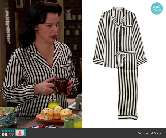 Olivia von Halle Lila striped silk-satin pajama set worn by Debi Mazar on Younger