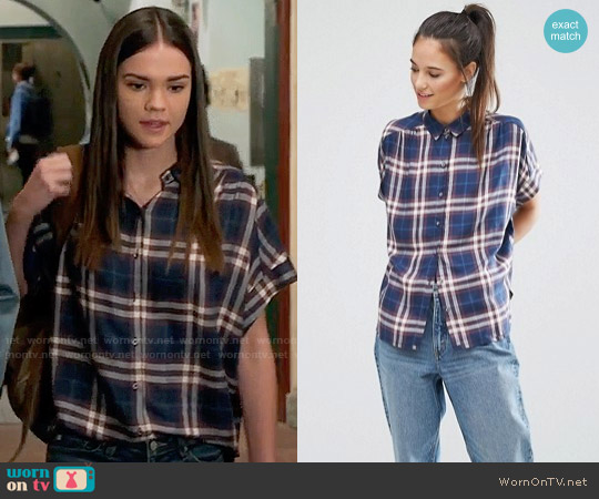 Only Batwing Check Shirt worn by Maia Mitchell on The Fosters