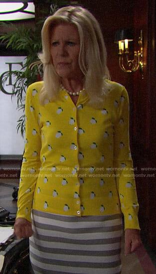 Pam's yellow lemon print cardigan on The Bold and the Beautiful