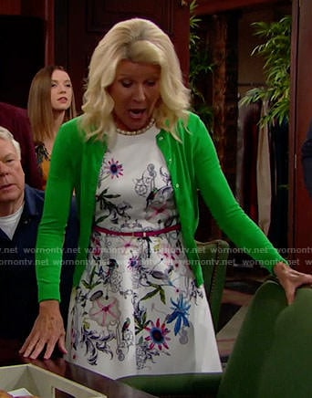 Pam's white floral dress and green cardigan on The Bold and the Beautiful