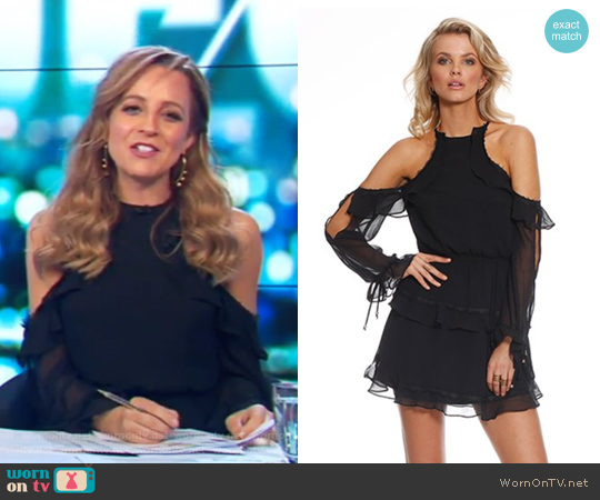 Pasduchas Black Lace Cold Shoulder Dress worn by Carrie Bickmore on The Project