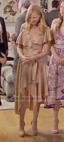 Pauline's beige ruffled wrap dress on Younger