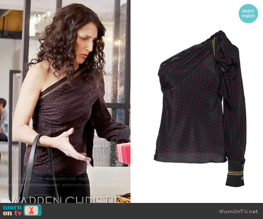Philosophy Di Lorenzo Serafini Fantasy Print One Shoulder Blouse worn by Lisa Edelstein on GG2D