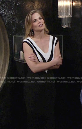 Phyllis's black dress with white striped v-neck on The Young and the Restless