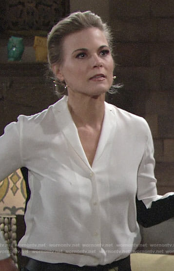 Phyllis's white shirt with black back on The Young and the Restless