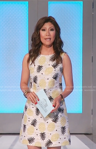 Julie's pineapple print shift dress on Big Brother