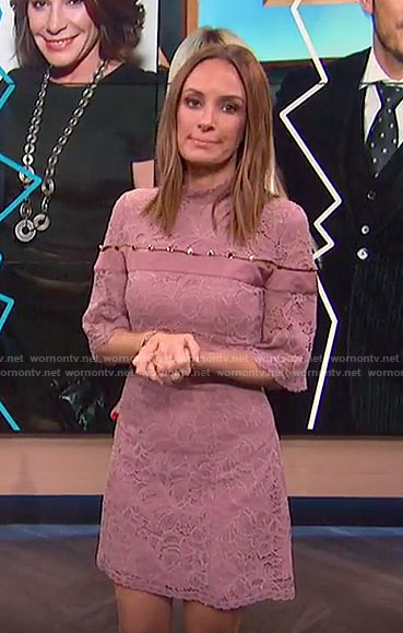 Catt's pink floral lace dress on E! News