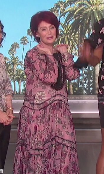 Sharon's pink floral maxi dress on The Talk