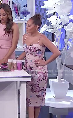Adrienne's pink floral spaghetti strap dress on The Real