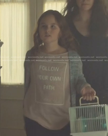 Kira's pink follow your own path sweater on Orphan Black