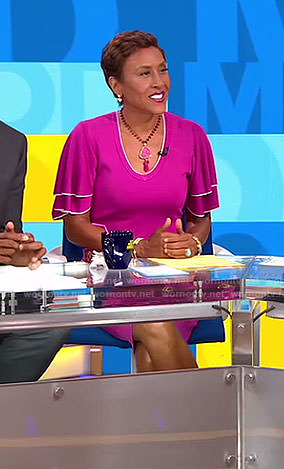 Robin's pink frilled short sleeve dress on Good Morning America