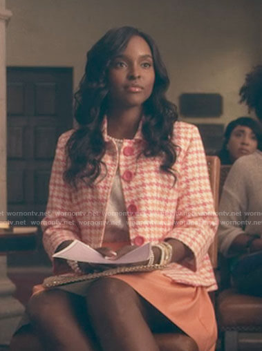 Coco's pink houndstooth jacket on Dear White People
