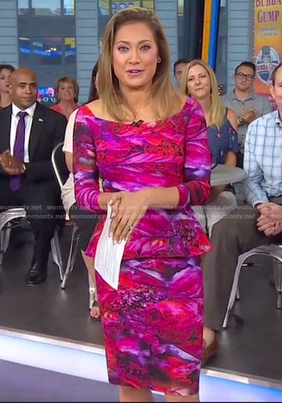 Ginger's pink printed peplum dress on Good Morning America