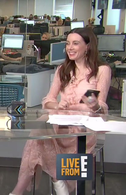 Melanie's blush ruffled lace dress on E! News