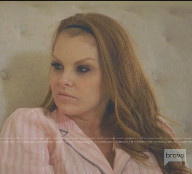 Brandi's pink striped pajamas on The Real Housewives of Dallas