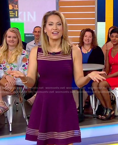 Ginger's purple mesh stripe dress on Good Morning America