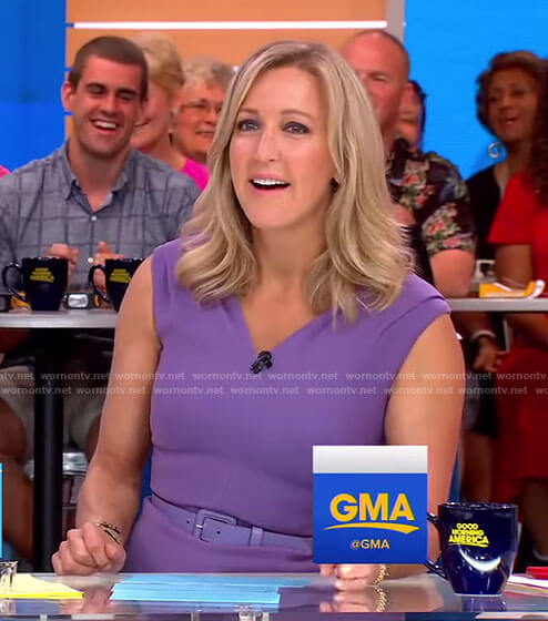 Lara's purple v-neck sheath dress on Good Morning America