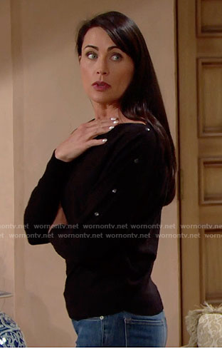 Quinn's black sweater with buttoned sleeves on The Bold and the Beautiful