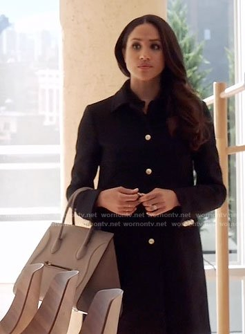 Rachel's black coat with gold buttons on Suits