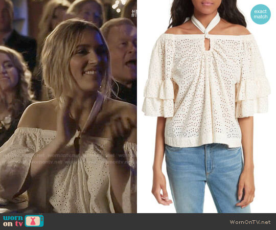 La Vie Rebecca Taylor Eyelet Cotton Off the Shoulder Top worn by Lennon Stella on Nashville