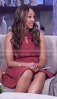Tamera's red a-line halter neck dress on The Real