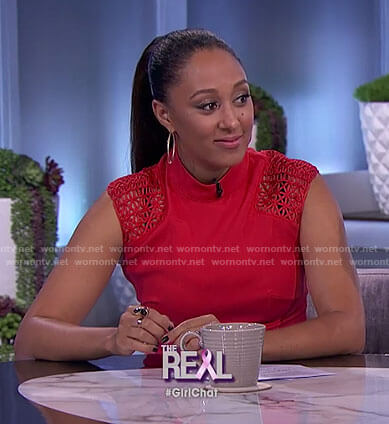 Tamera's red lattice shoulder top on The Real
