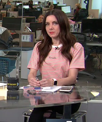 Melanie's red striped romantic t-shirt on Live fron E!