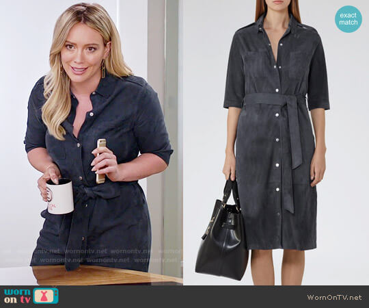 Reiss Chloe Suede Shirtdress in Airforce Blue worn by Kelsey Peters (Hilary Duff) on Younger