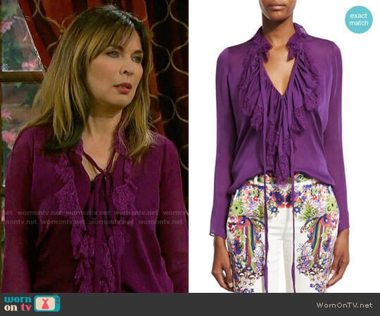 Roberto Cavalli Ruffled Self-Tie Silk Blouse worn by Lauren Koslow on Days of our Lives