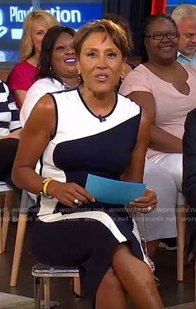 Robin's black and white wave color-block dress on Good Morning America
