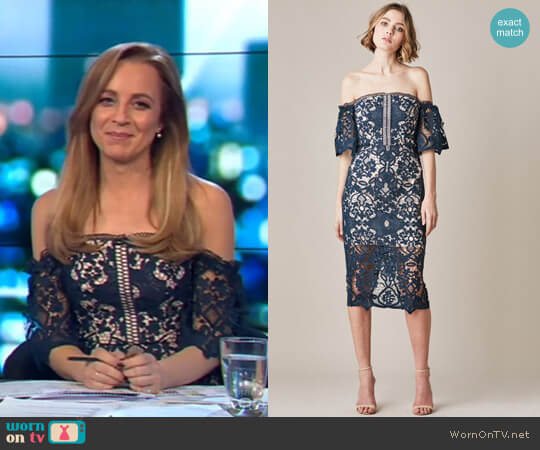Odette Lace Dress by Rodeo Show worn by Carrie Bickmore on The Project