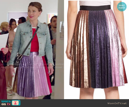 Romance was Born Metallic Accordion Pleated Skirt worn by Liza Miller (Sutton Foster) on Younger