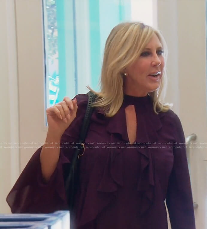 Vicki's long sleeve ruffled top on The Real Housewives of OC