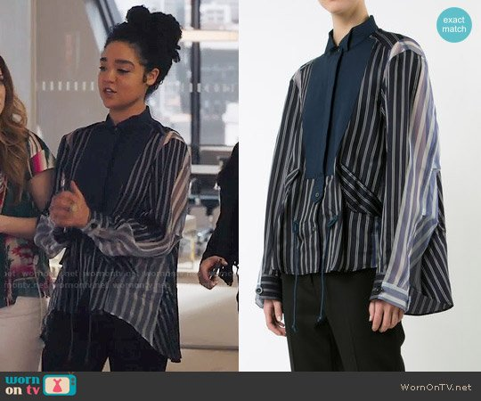 Sacai Sheer Panel Bib Stripe Shirt worn by Aisha Dee on The Bold Type
