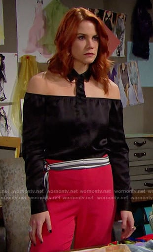 Sally's black off-shoulder collared shirt on The Bold and the Beautiful
