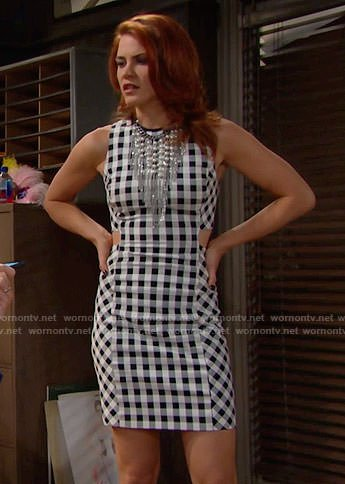 Sally's gingham checked dress and pearl fringe necklace on The Bold and the Beautiful