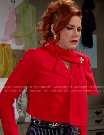 Sally's red tie-neck jacket on The Bold and the Beautiful