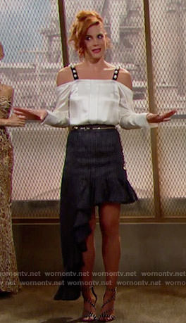 Sally's white pearl studded top and pinstriped asymmetric skirt on The Bold and the Beautiful
