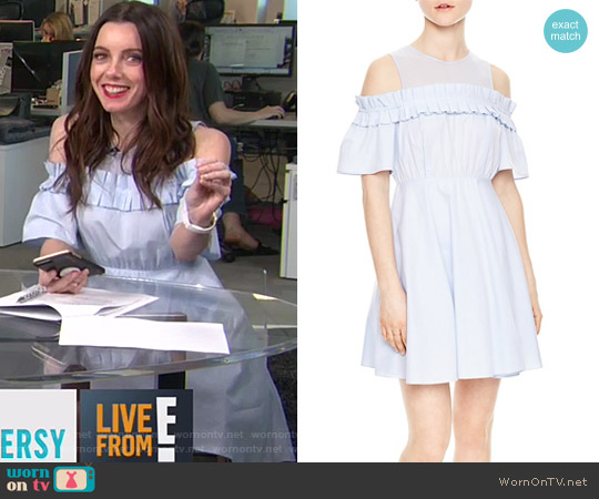 Smocky Cold-Shoulder Dress by Sandro worn by Melanie Bromley on E! News