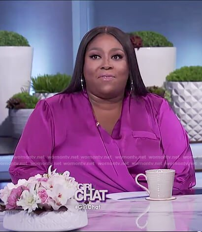 Loni's purple satin wrap top on The Real